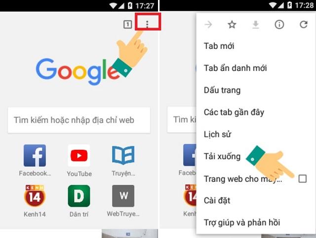 Chọn mục Trang web dành cho máy tính để kích hoạt trình duyệt web trên thiết bị điện thoại.