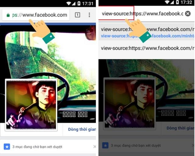 """Dán thêm """"View-source"""" trước địa chỉ trang Facebook cá nhân."""