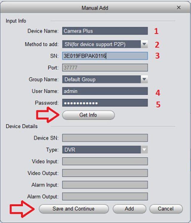 Để thêm thiết bị xem camera trên máy tính bằng P2P và làm theo từng bước
