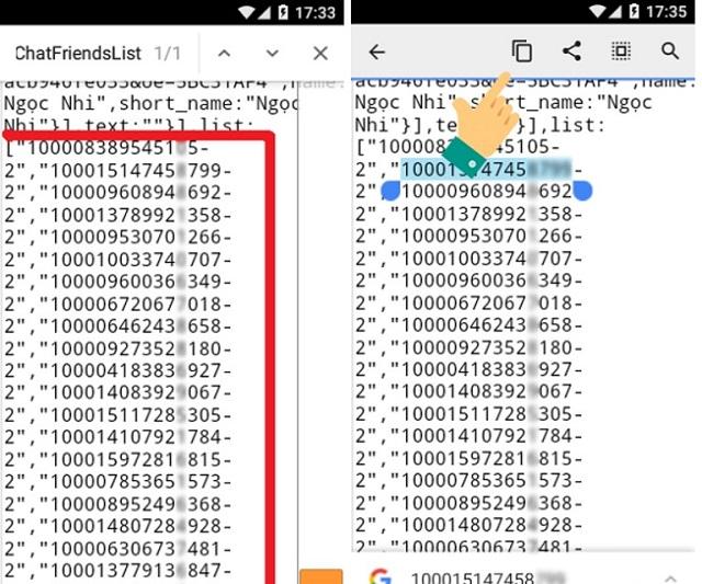 Trang mã ID cho thấy danh sách bạn bè thường xuyên vào Facebook của mình.