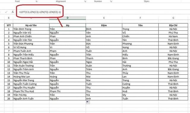 Áp dụng hàm trong Excel để tách họ và tên