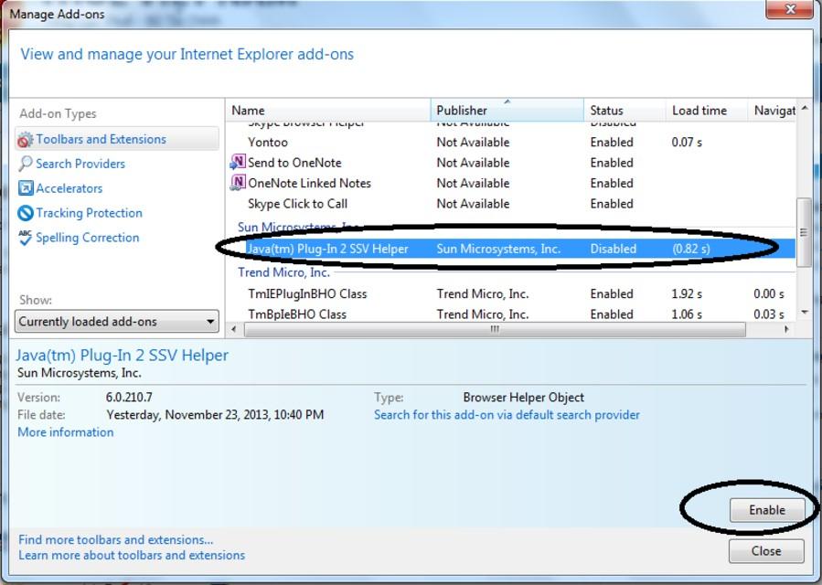 Cho phép trình duyệt Ex chạy Add-on java.