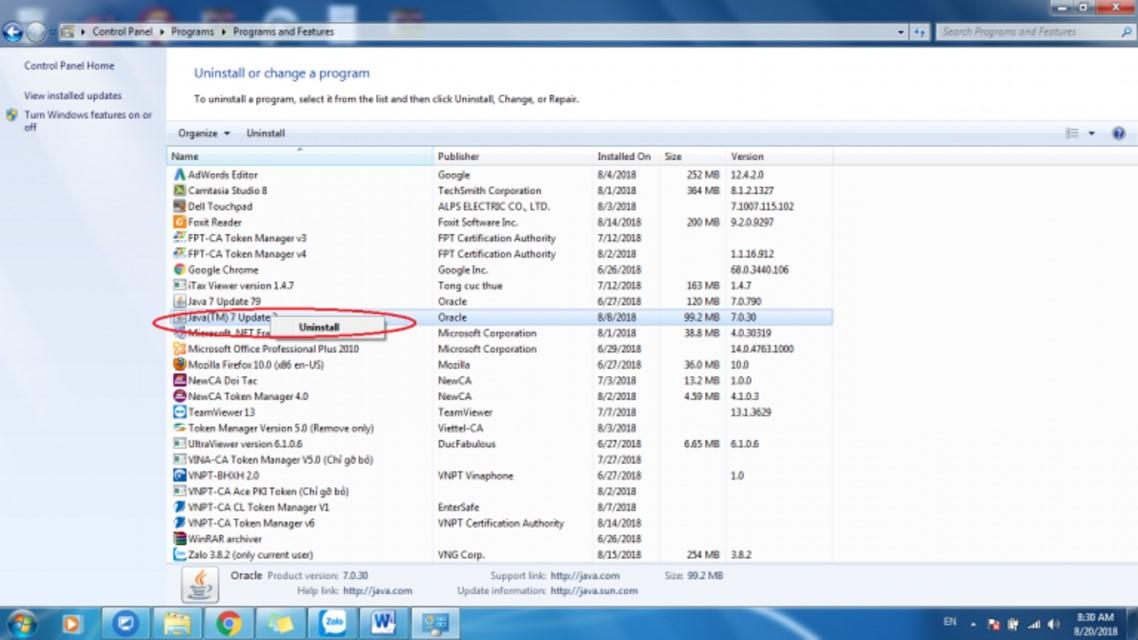 Gỡ cài đặt Java bằng cách nhấn chuột phải chọn Uninstall.