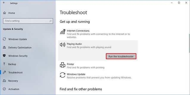Khởi chạy Windows Audio Troubleshooter.