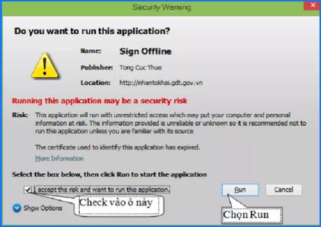Xác thực chứng chỉ khi đăng nhập vào website Chi cục thuế