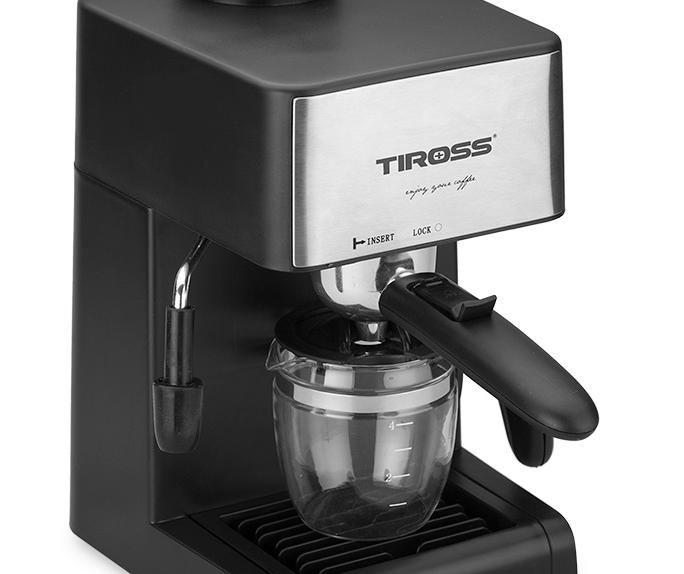 Máy pha cà phê Tiross có thiết kế nhỏ gọn